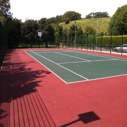Polymeric Tennis Court Surfacing in Acrefair 12